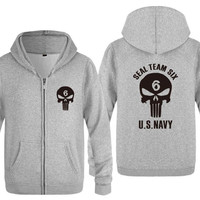 Mens Hoodie Seal Team Six US NAVY Printed Hoodies Men Hip Hop Fleece Long Sleeve Zipper Jacket Coat Sweatshirt Skate Tracksuit