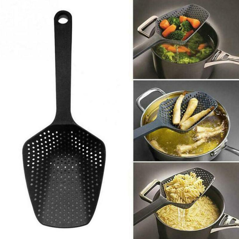 1PC Filter Cooking Shovel Vegetable Strainer Scoop Nylon Spoon Kitchen Accessories Nylon Strainer Scoop Colander Leaking Shovel