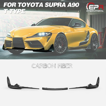 For Toyota 2019 On Supra A90 T Type Carbon Fiber Car-styling Front Lip 3pcs Glossy Finish Bumper Splitter Set Fibre Tuning Kit