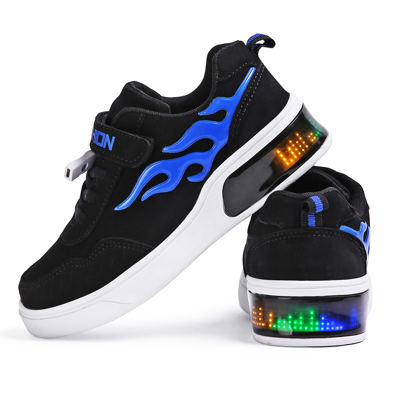 Blue Children Shoes Hot Light Led Luminous Shoes Boys Girls USB Charging Sport Shoes Casual Led Shoes Kids Glowing Sneakers