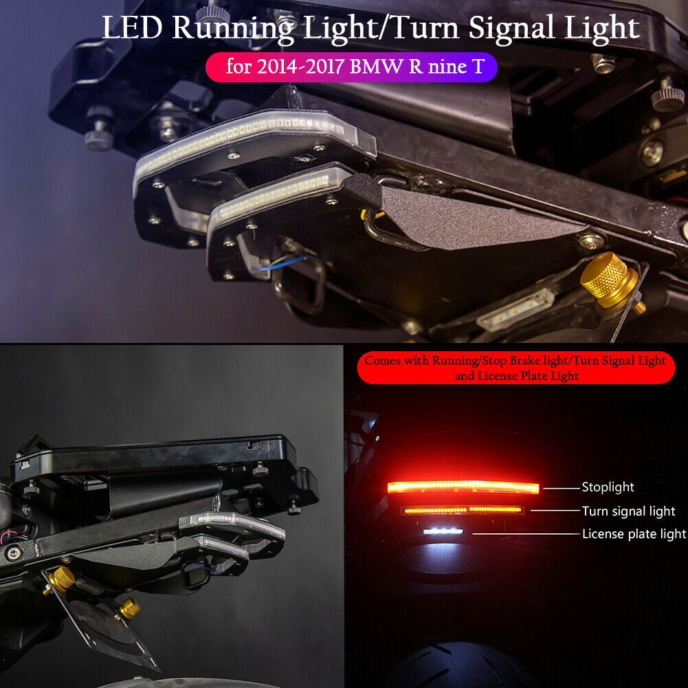 For BMW R NINE T R9T Turn Signals Indicator Stop Brake Tail Light License Plate Holder With LED Lamp R NINET 2014 2015 2016 2017