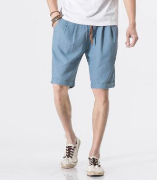 ZNG 2020 New Hemp Short Pair Men's Special Summer Casual Pants Pure Color Rope Five Minute Trousers
