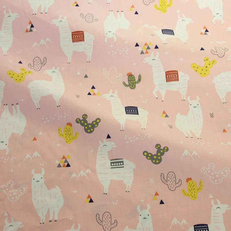 Tela de algodón DE Alpaca 100% estampada rosa para hacer vestidos cojines y Manta cosido bebé niño sábana textil