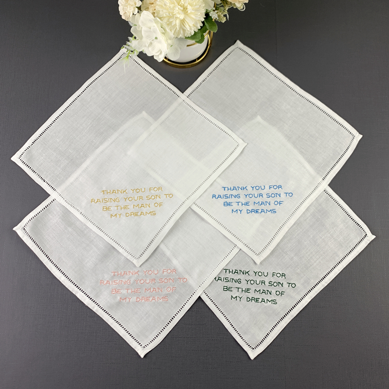 Set Of 12 Fashion Personalized Wedding Handkerchief 10x10-inch Linen Hemstitch Hankie For Any Wedding Ceremony  Or Special Event