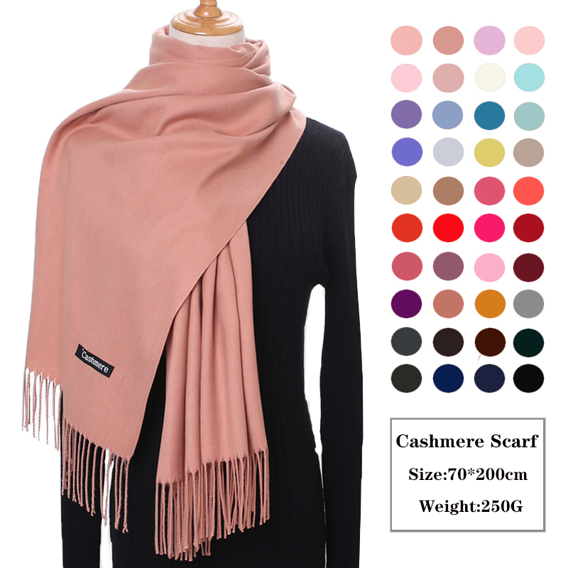 Women Cashmere Scarf Unisex Thick Warm Winter Scarves Femme Pashmina Kerchief Wool Stole Neck Long Gentleman Bussiness Scarves