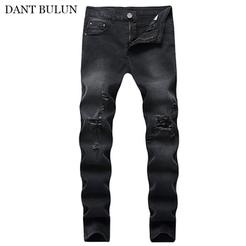 Men Casual Jeans Distressed Hole Jeans Torn Ripped Slim Pants Destroyed Denim Trousers Men Skinny Jeans Pencil Pants Streetwear envmenst brand high quality men s jeans hole casual ripped jeans men hiphop pants straight jeans for men denim trousers