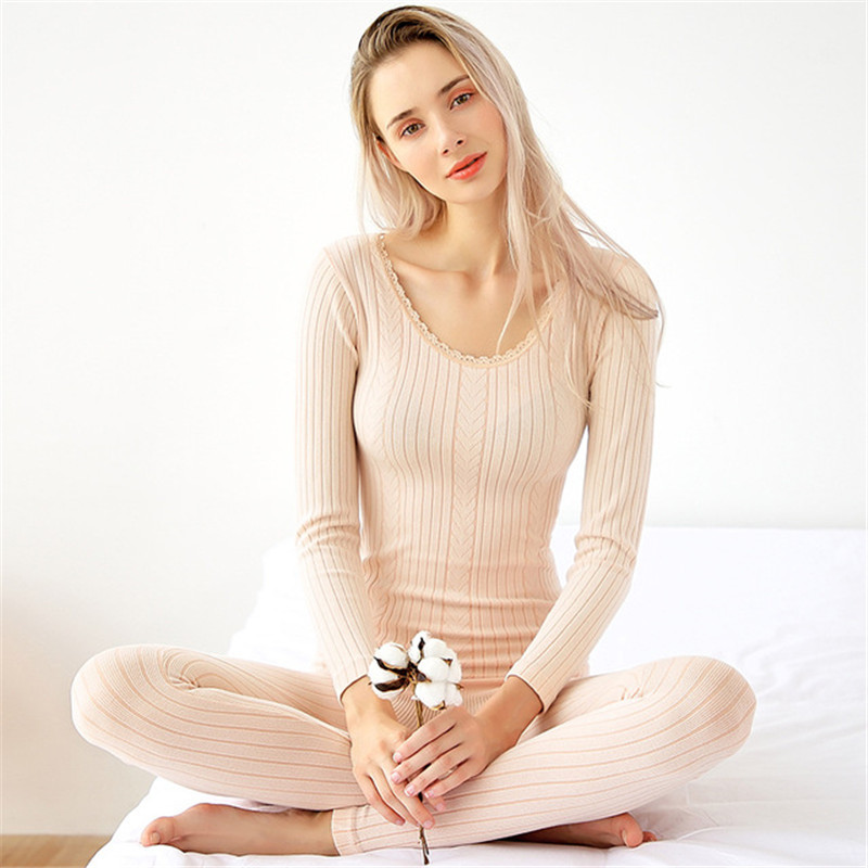 2019 New Cotton Second Skin Winter Female O-Neck Lace Long Johns For Women Thermal Underwear Set Bodycon Slim Knit Thermal Suit