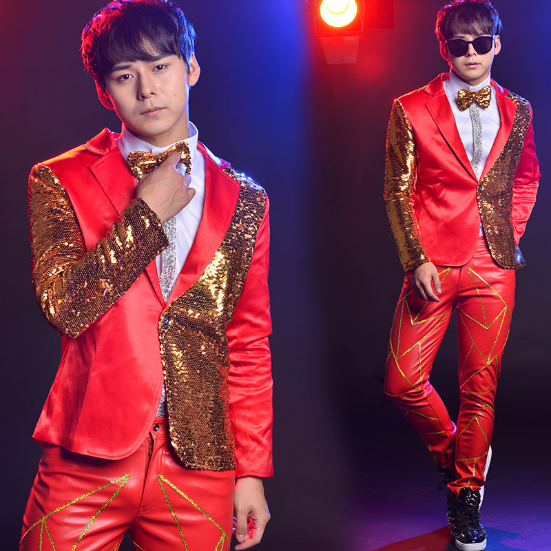 Men Suits For Wedding Suits With Pants Night Bar Sequin Costume Male Singer Host Stage Performance Colorful Suit 2 Piece Suit