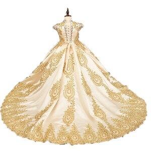 Image 3 - יוקרה זהב פרח ילדה שמלות לחתונה חרוזים ילדים ערב כדור שמלות ארוך ילדות קטנות תחרות שמלות עם רכבת