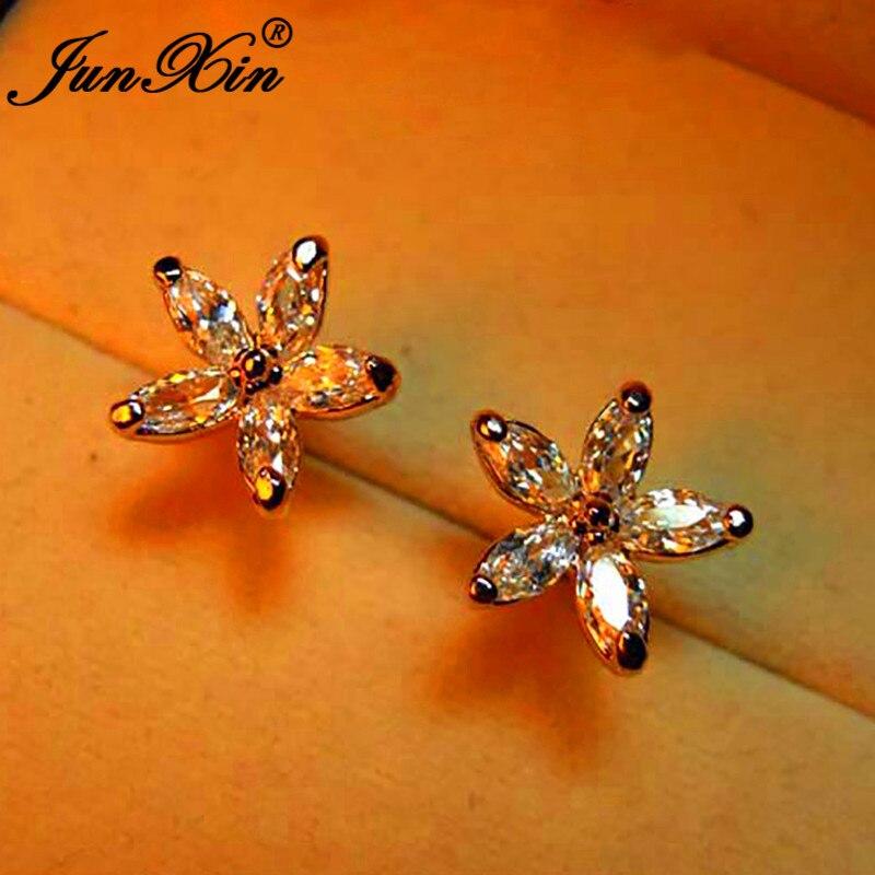 Multicolor Zircon Small Star Stud Earrings For Women Silver Color Royal Blue Purple Pink Earrings Wedding Ear Studs Jewelry