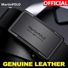 Ремень мужской, кожаный, черный, с автоматической пряжкой MartinPOLO, MP01001P