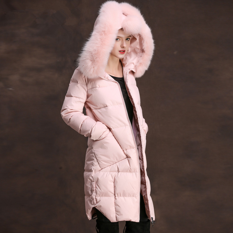 Down Long Women Jacket Warm Winter Coat Female Jackets Large Real Fox Fur Colllar Parka Jaqueta Feminina Inverno 83298         S