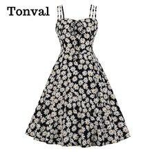 Tonval-vestido con lazo frontal para mujer, estampado Floral de Margarita, tirantes finos, vacaciones de verano, informal, Vintage, Swing, de talla grande