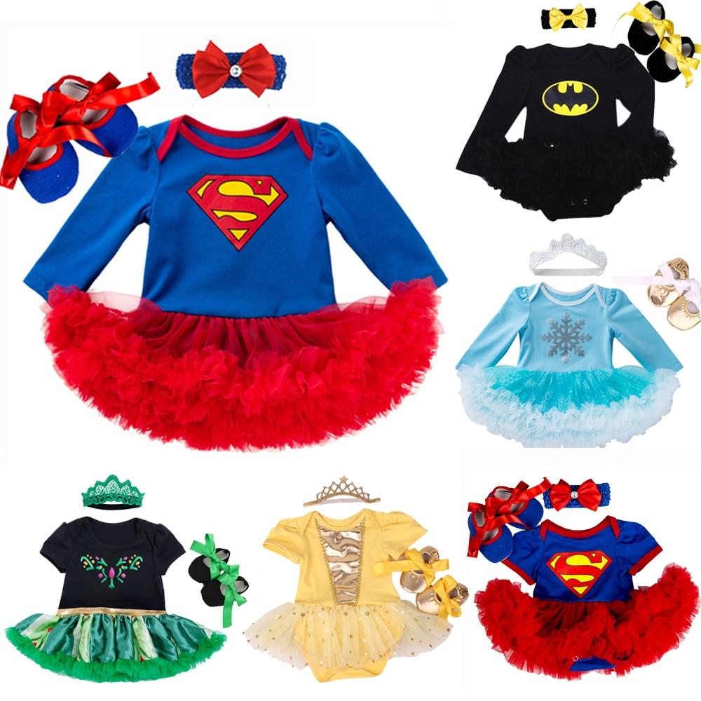 Roupas de bebê superman traje para bebê infantil vestido de festa tutus recém-nascido macacão bebe roupas da menina do bebê presente aniversário
