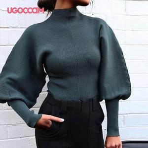 UGOCCAM Women Pullovers Spring Autumn Elegant Fashion Vintage Big Lantern Sleeve Tight Sweater Short Pull Femme Women Clothes