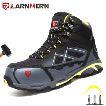 LARNMERN Indestructible Shoes Men Safety Work Shoes Steel Toe Cap Puncture-Proof Safety Boots Lightweight Breathable Wrok Sneake large size men casual comfort mesh steel toe cap work safety summer shoes puncture proof tooling security boots protect footwear