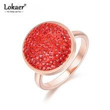 Lokaer-anillos de boda de forma redonda para mujer, joyas de diamantes de imitación de acero inoxidable, Color oro rosa, negro/rojo, Anneau R18031