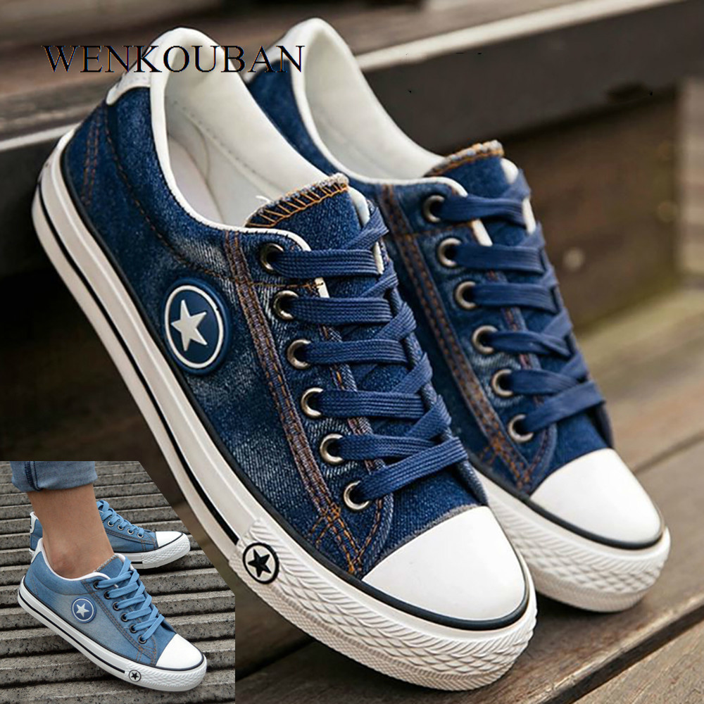 Fashion Sneakers Women Denim Casual Shoes Tenis Canvas Shoes Female Trainers Lace Up Basket Femme Vulcanize Shoes Tenis Feminino