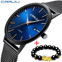 CRRJU-Reloj de pulsera ultradelgado para hombre, cronógrafo minimalista, sencillo, con fecha analógica, correa de malla de acero inoxidable