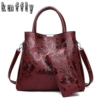 2020 New 2-Piece set Luxury handbags women bag designer fashion print pu leather brand lady shoulder messenger bags with wallet