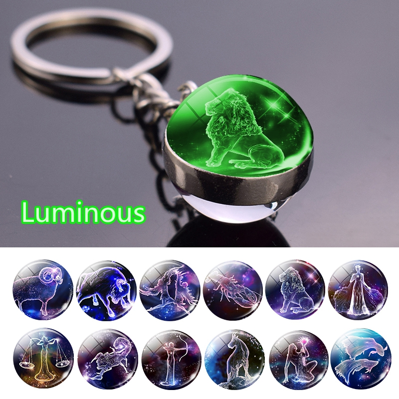 12 Constellation Luminous Keychain Glass Ball Pendant Zodiac Keychain Glow In The Dark Key Chain Holder Men Women Birthday Gift