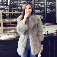 DUOUPA 2019 Autumn and Winter New Fur Womens Coats Seven-point Sleeves Imitation Fox Coat Temperament