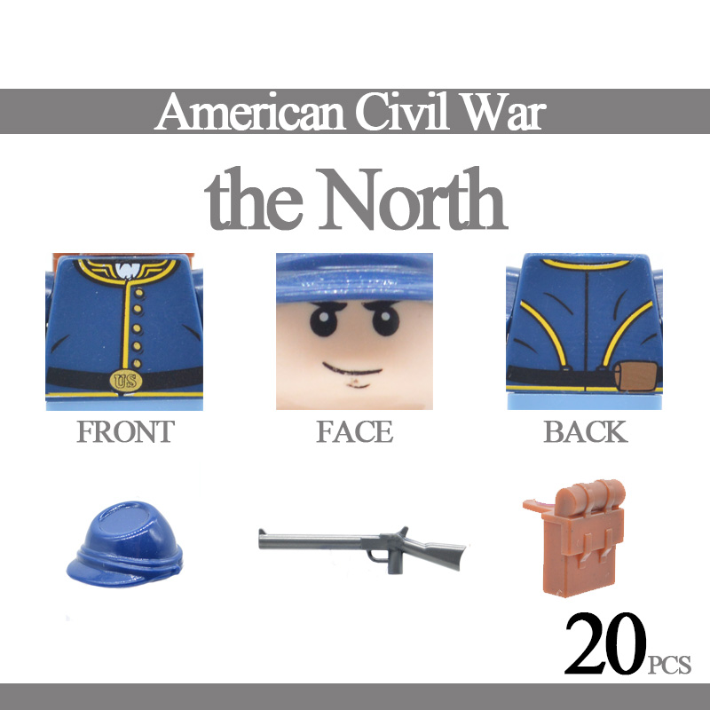 20 MOC American Civil War Soldiers Building Blocks The South Confederate The North  Revolutionary War Toy For Children
