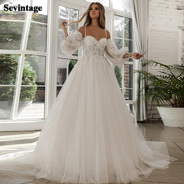 A-line Beach Wedding Dress Long Puff Sleeve Lace Bridal Gown Feathers Custom Made Princess Wedding Party Gowns Boho Plus Size 1