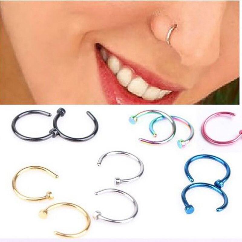 1 pçs em forma de u falso nariz anel 8mm hoop septo anéis de aço inoxidável nariz lábio piercing falso oreja piercing jóias
