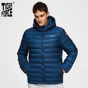 Image 1 - TIGER FORCE 100% Polyester Spring Autumn Mens Jacket Male Casual Coats Hooded Outerwear High Quality Men Parkas with Hoody