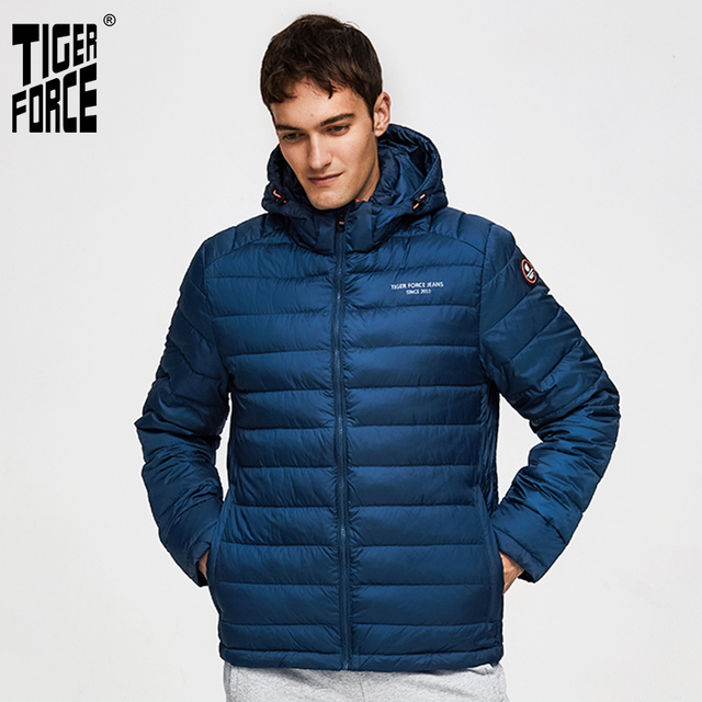 TIGER FORCE 100% Polyester Spring Autumn Mens Jacket Male Casual Coats Hooded Outerwear High Quality Men Parkas with Hoody