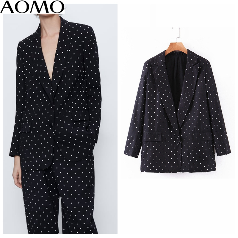 AOMO Casual Women Vintage Dots Print  Black Blazer Female Long Sleeve Elegant Jacket Ladies Casual Blazer Suits SL80A