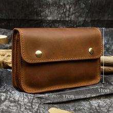 Men's Genuine leather waist bag for iPhone crazy horse leather belt bag cow leather snap wallet 2 use Real leather clutch bag