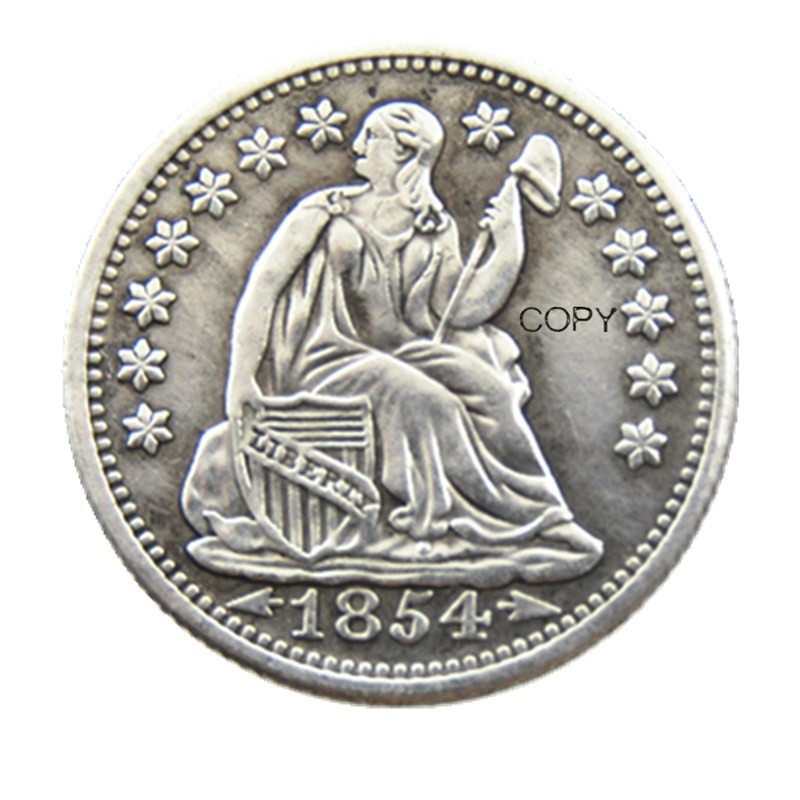 USA 1854P/O Liberty Seated Half Dime Arrows at Date Copy Coins