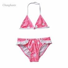 Новая модель купального костюма из 2 предметов для девочек, Набор детских бикини с розовым и цветочным принтом для детей 4-8 лет, детский купальник, танкини