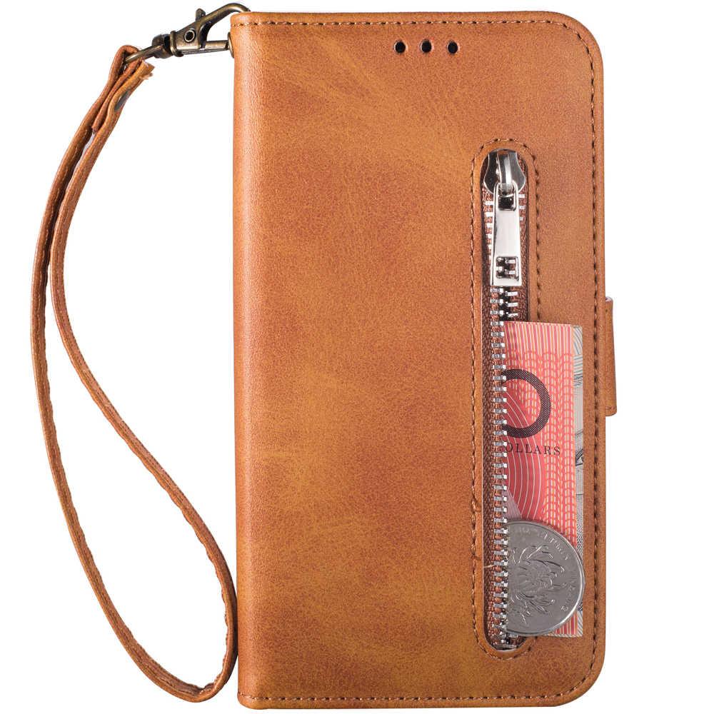 Etui na telefon do Samsung S20 S10 S9 S8 S7 S6 Ultra Plus odwróć portfel zamek z etui na karty do Samsung S105G S7Edge skórzany pokrowiec