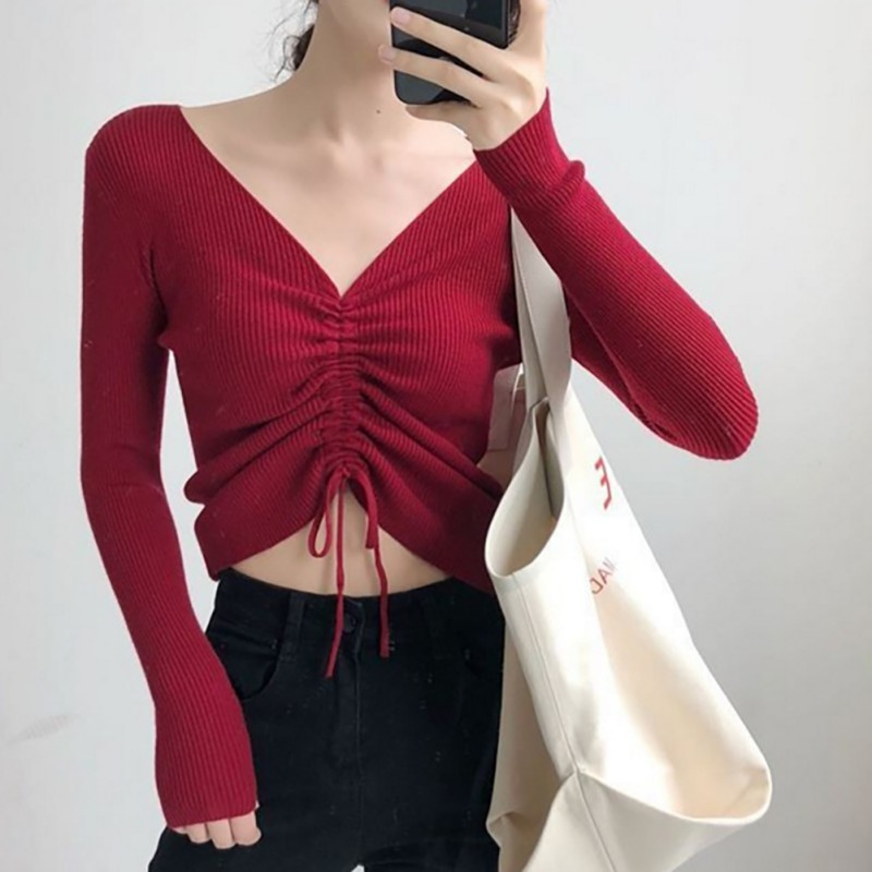 Women Autumn Fashion Casual Sweater Slim Fit V-Neck Sweaters Solid Winter Drawstring Pullover Wear Long Sleeve Tops