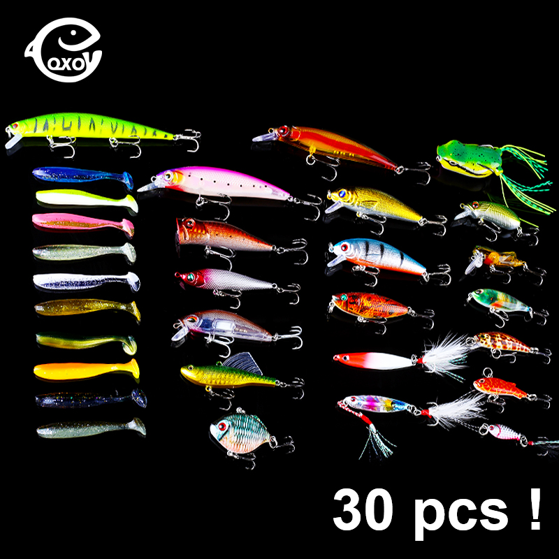 Qxo 30pcs/Lot Hot Fishing Lures Wobblers Everything For Fishing Accessories Minnow Soft Lure Silicone Bait Jig Jigging Spoon