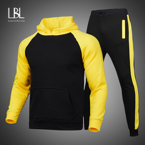 Men Hoodie Sets Casual Clothing 2021 New Tracksuit Sportsuit Hoodies Sportswear Hooded Sweatshirt+Pant Pullover two piece Set