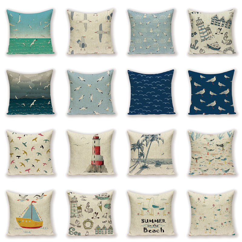 Marine Landscape Decorative Cushion Cover Seagull Home Decor Pillow <font><b>Case</b></font> Summer on The Beach Ocean Scenic <font><b>Seabird</b></font> Cushions image