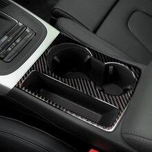 Porte-gobelet en Fiber de carbone pour Audi A5 A4 B8 2009 – 2015, cadre décoratif, couverture autocollante, accessoires de style automobile