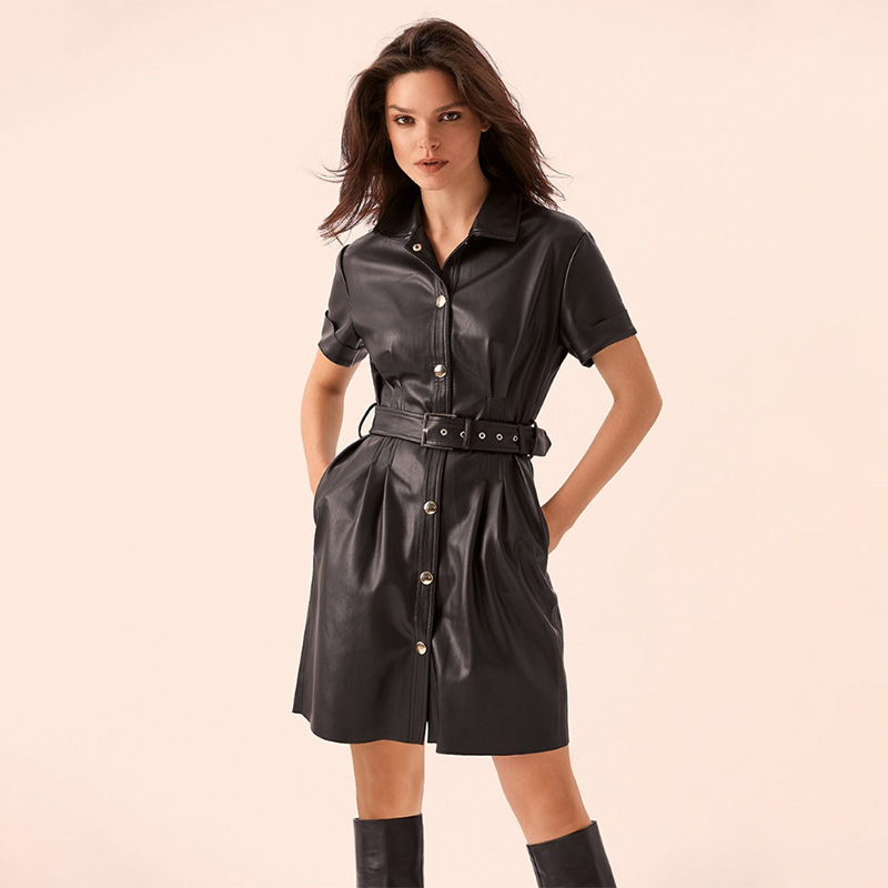 <font><b>Women</b></font> Sashes <font><b>Sexy</b></font> Pu Leather a Line Party <font><b>Dress</b></font> Ladies Short Sleeve Turn Down Collar Pockets Elegant 2019 Fashion Autumn <font><b>Mini</b></font> image