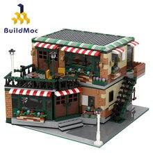 Buildmoc yaratıcı şehir sokak görünümü merkezi Cafe köşe merkezi yapı taşları mimari tuğla seti çocuklar çocuk modelleri oyuncak hediye