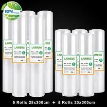 Laimeng rolos de sacos à vácuo, 10 rolos de sacos para seladora a vácuo de embalagem para preservação de alimentos, filme elástico de armazenamento de alimentos r249