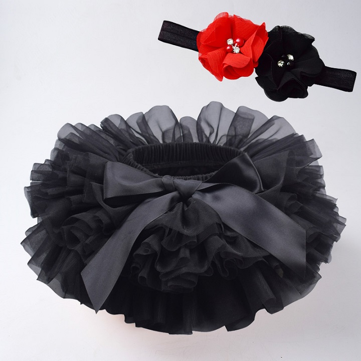 Юбка-пачка для маленьких девочек, комплект из 2 предметов, кружевные трусы из тюля, Одежда для новорожденных, Одежда для младенцев Mauv, повязка на голову с цветочным принтом, Детские сетчатые трусики - Цвет: black2