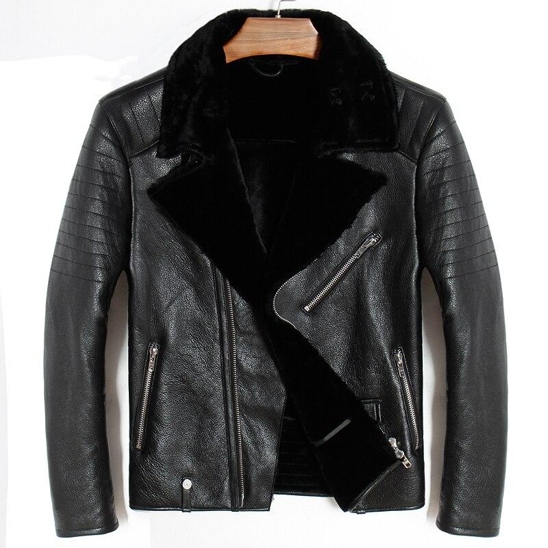 Free shipping,Sheepskin,fashion wool Shearling,man's warm leather jacket,men's fur winter coat.plus size black jackets.sales