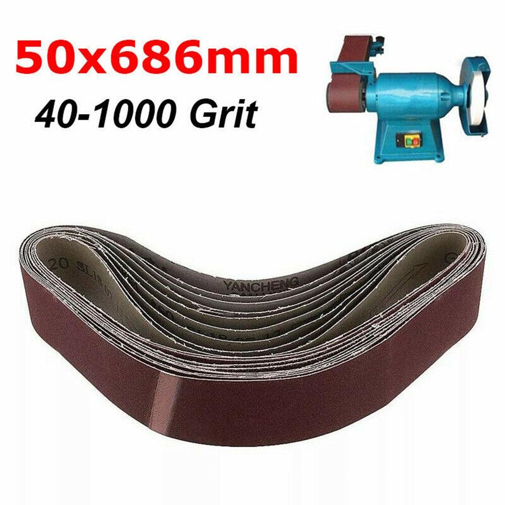 10*Sanding Abrasive Belt 50x686mm For Metal Wood Grinding Sander 40-1000 Grit Sanding Belts Polishing Accessories