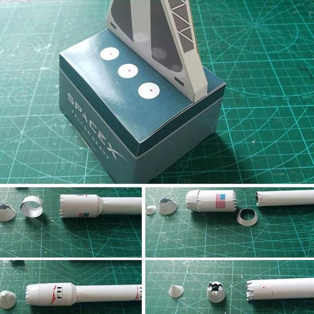 1:160 Falcon Heavy Rocket Spacex Paper Model Puzzle Handmade Diy Space Model 5