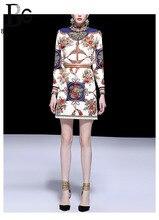 Baogarret 2019 New Spring Summer Runway Flower Print Skirt Suit Womens Fashion Female Office Lady Elegant Two Piece Set