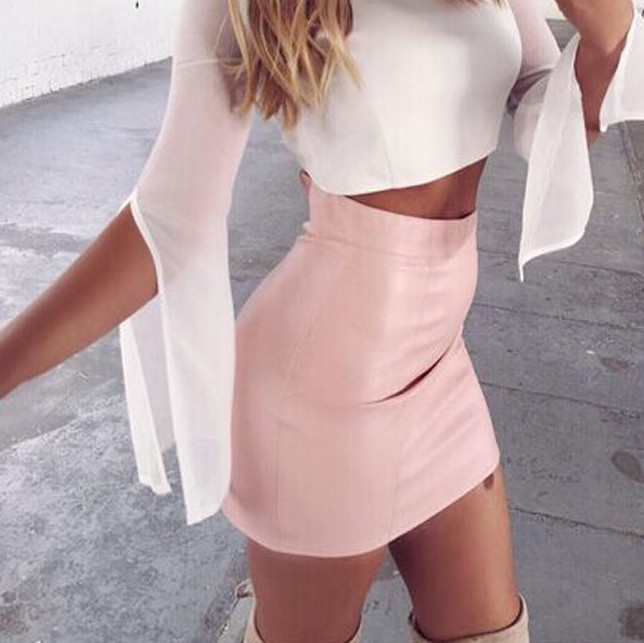 Solid High Waist Faux Leather Mini Bodycon Skirt Jupe Femme